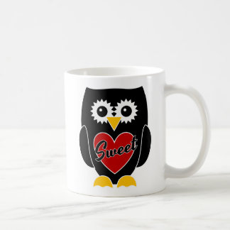 Sweet -  Black Owl with Red Heart Mug