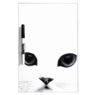 Sweet Black White Cat Face Dry-Erase Board