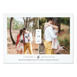 Sweet Black & White Dots Two-Photo Save the Date