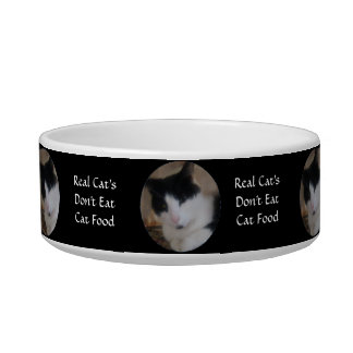 Sweet Black & White Kitty Cat - Real Cats Bowl