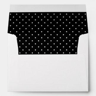 Sweet Black White Polka Dot Lined Envelope