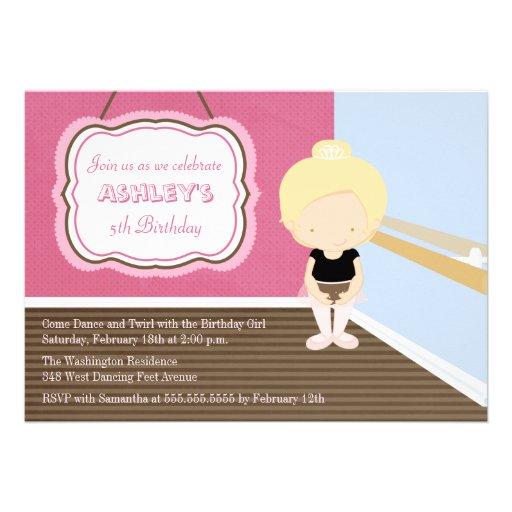 Sweet blonde ballet girl birthday party invitation