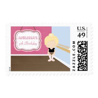 Sweet blonde ballet girl birthday party stamps