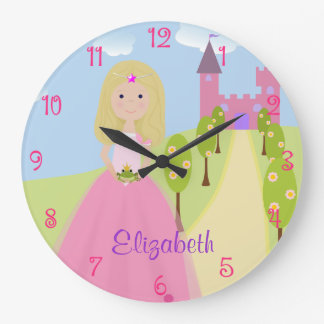 Sweet Blonde Princess Personalized Large Clock