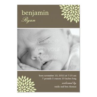 Sweet Bloom Baby Neutral Birth Announcement