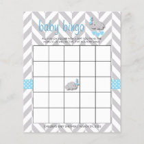 Sweet Blue and Gray Elephant Baby Shower Bingo
