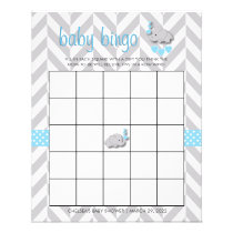 Sweet Blue and Gray Elephant Baby Shower Bingo Flyer