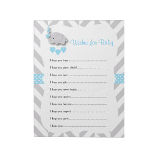 Sweet Blue and Gray Elephant Baby Shower - Wishes Notepad