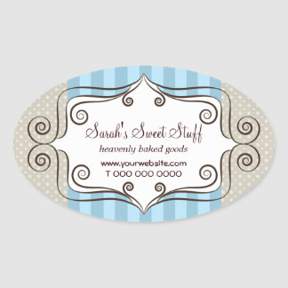 Sweet Blue and Polka Dots Oval Stickers