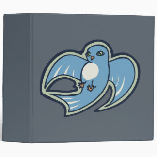 Sweet Blue And White Bird Ink Drawing Design 3 Ring Binder