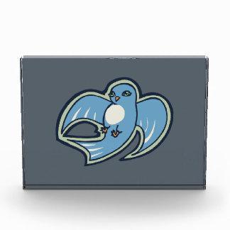 Sweet Blue And White Bird Ink Drawing Design Acrylic Award