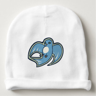 Sweet Blue And White Bird Ink Drawing Design Baby Beanie