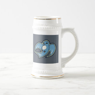 Sweet Blue And White Bird Ink Drawing Design Beer Stein