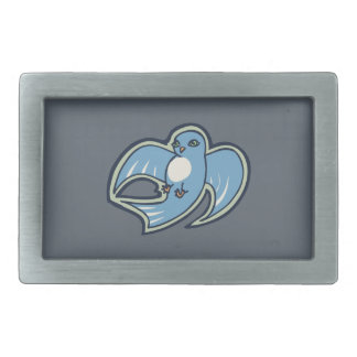 Sweet Blue And White Bird Ink Drawing Design Belt Buckle
