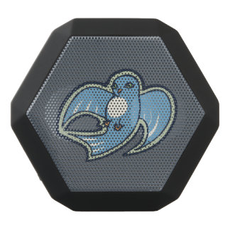 Sweet Blue And White Bird Ink Drawing Design Black Bluetooth Speaker