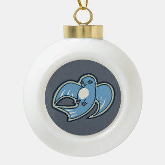Sweet Blue And White Bird Ink Drawing Design Ceramic Ball Christmas Ornament