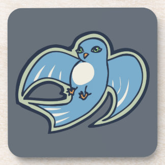 Sweet Blue And White Bird Ink Drawing Design Coaster