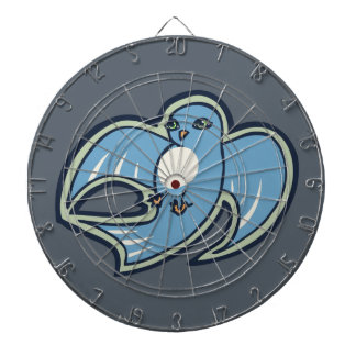 Sweet Blue And White Bird Ink Drawing Design Dartboard