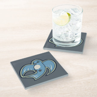Sweet Blue And White Bird Ink Drawing Design Glass Coaster