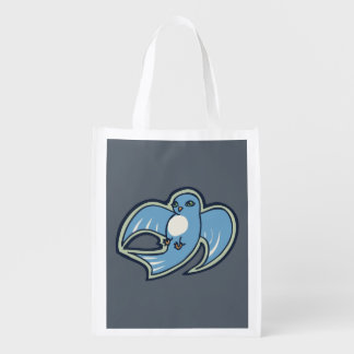 Sweet Blue And White Bird Ink Drawing Design Grocery Bag