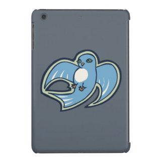 Sweet Blue And White Bird Ink Drawing Design iPad Mini Retina Cover