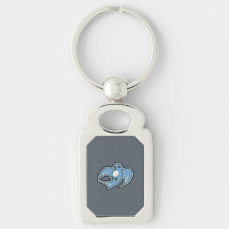 Sweet Blue And White Bird Ink Drawing Design Keychain
