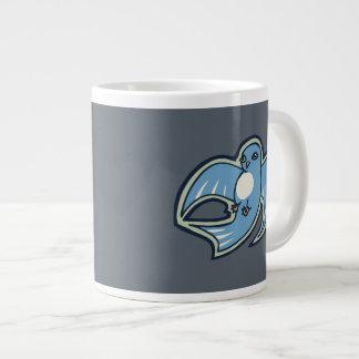 Sweet Blue And White Bird Ink Drawing Design Large Coffee Mug