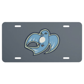 Sweet Blue And White Bird Ink Drawing Design License Plate