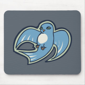 Sweet Blue And White Bird Ink Drawing Design Mouse Pad