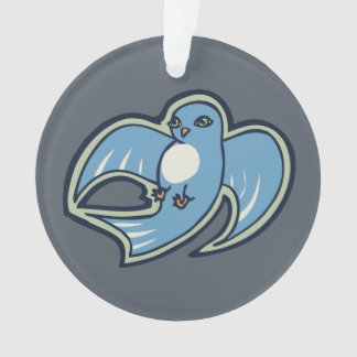 Sweet Blue And White Bird Ink Drawing Design Ornament