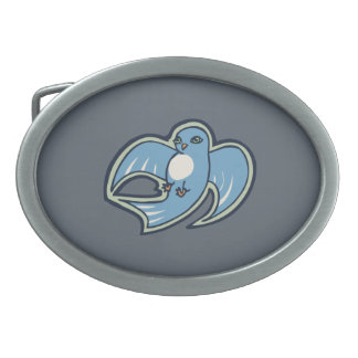 Sweet Blue And White Bird Ink Drawing Design Oval Belt Buckle