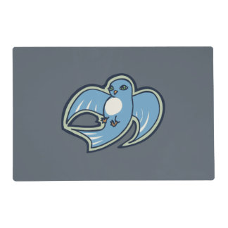 Sweet Blue And White Bird Ink Drawing Design Placemat