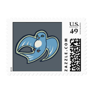 Sweet Blue And White Bird Ink Drawing Design Postage