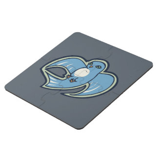 Sweet Blue And White Bird Ink Drawing Design Puzzle Coaster