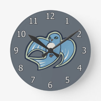 Sweet Blue And White Bird Ink Drawing Design Round Clock