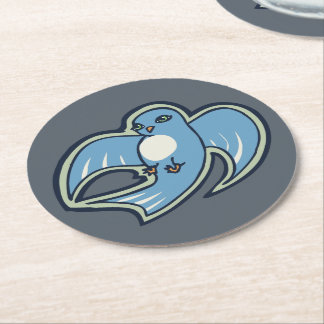 Sweet Blue And White Bird Ink Drawing Design Round Paper Coaster