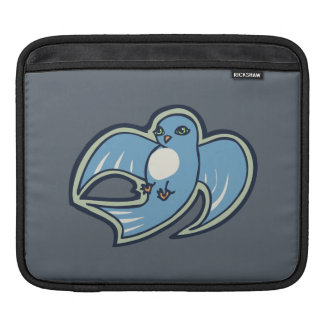 Sweet Blue And White Bird Ink Drawing Design Sleeve For iPads