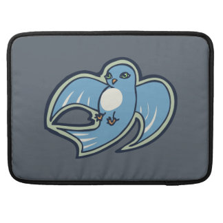 Sweet Blue And White Bird Ink Drawing Design Sleeve For MacBook Pro