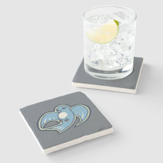 Sweet Blue And White Bird Ink Drawing Design Stone Coaster