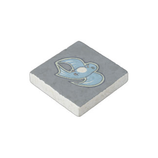 Sweet Blue And White Bird Ink Drawing Design Stone Magnet