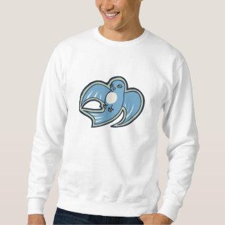 Sweet Blue And White Bird Ink Drawing Design Sweatshirt