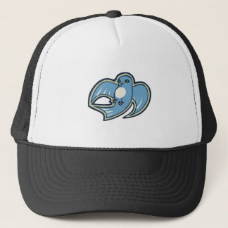 Sweet Blue And White Bird Ink Drawing Design Trucker Hat
