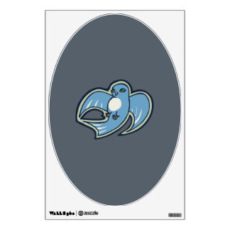 Sweet Blue And White Bird Ink Drawing Design Wall Decal
