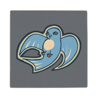 Sweet Blue And White Bird Ink Drawing Design Wood Coaster