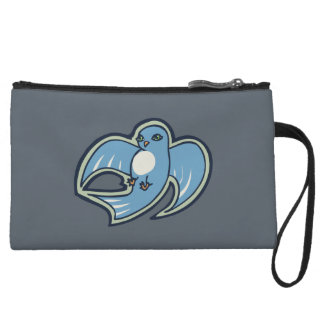 Sweet Blue And White Bird Ink Drawing Design Wristlet