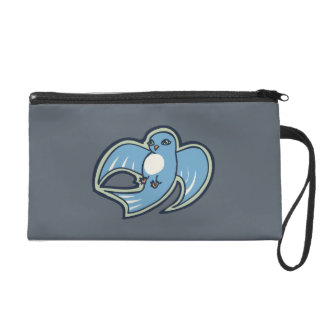 Sweet Blue And White Bird Ink Drawing Design Wristlet Purse