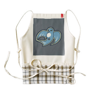 Sweet Blue And White Bird Ink Drawing Design Zazzle HEART Apron