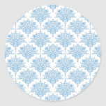 Sweet Blue and White Damask Pattern Classic Round Sticker