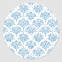 Sweet Blue and White Damask Pattern Classic Round Sticker