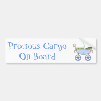 Sweet Blue Baby Carriage Baby Bumper Sticker